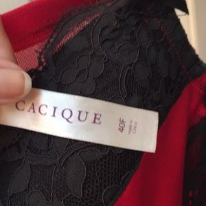 Cacique Intimates & Sleepwear - 40F sexy red bra with black lace accents